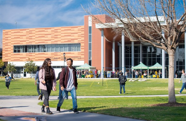Student services building with the students